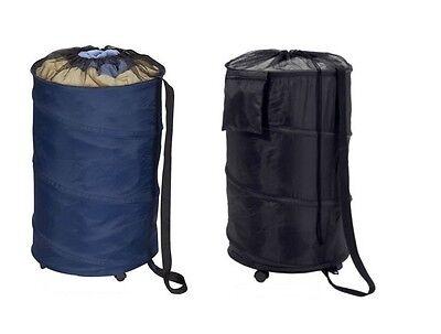 Pop-Open Hamper Storage Laundry Black Blue Wheels Storage Bag Dorm Student Gift