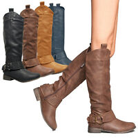 Breckelle's Women's Fashion Rider-16 Ankle Strap Zipper Riding Knee Boots Shoes