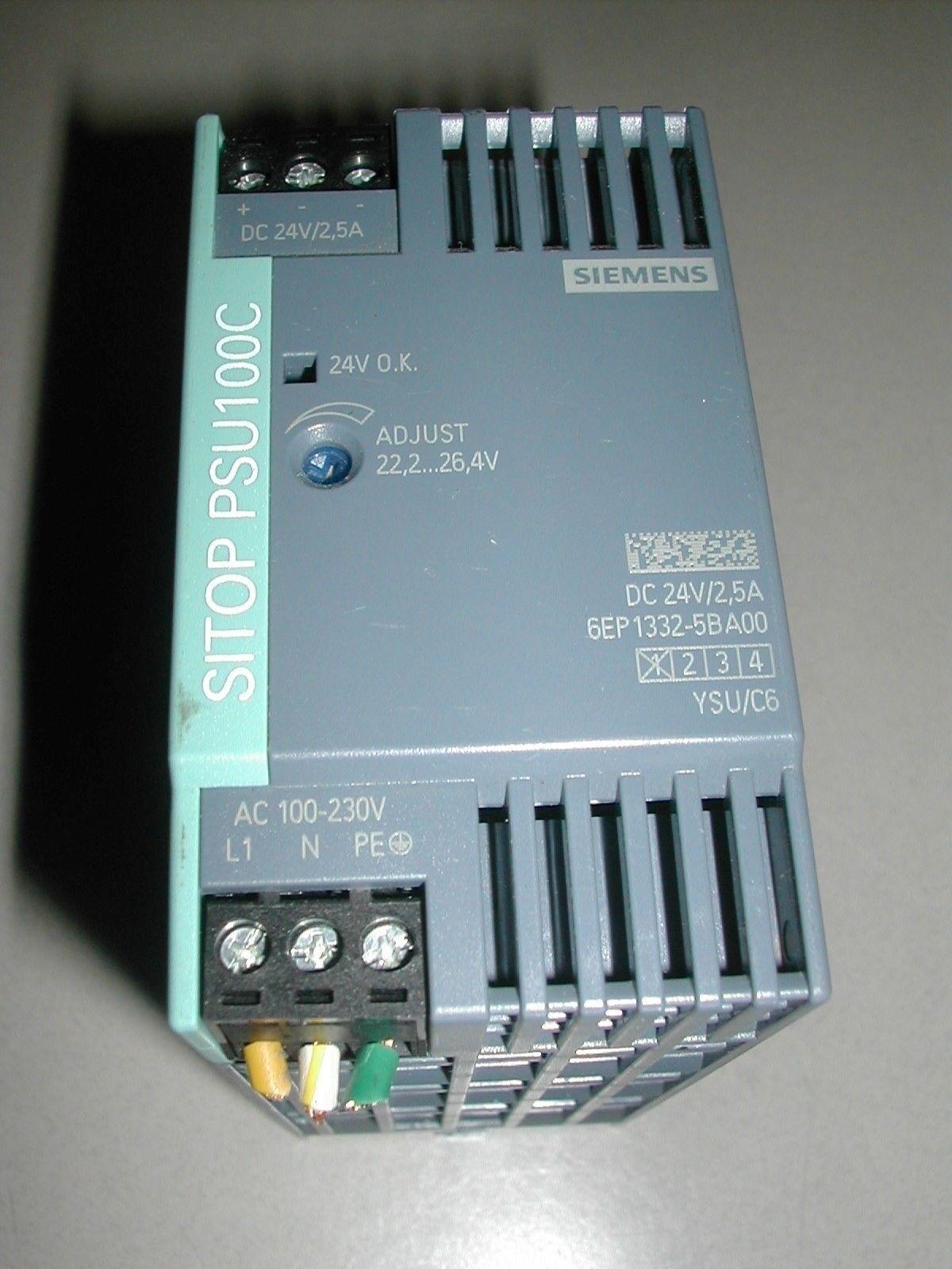 SIEMENS SITOP STABILIZED DC POWER SUPPLY INPUT 6EP1332-5BA00   PSU100C USED E7