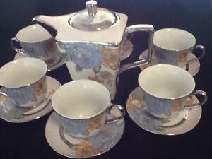 13 Pc Tea Sets /_ Tea Pot /_ 6 Cups /& Saucers w// Rack Silver Multi Set 3 oz cups
