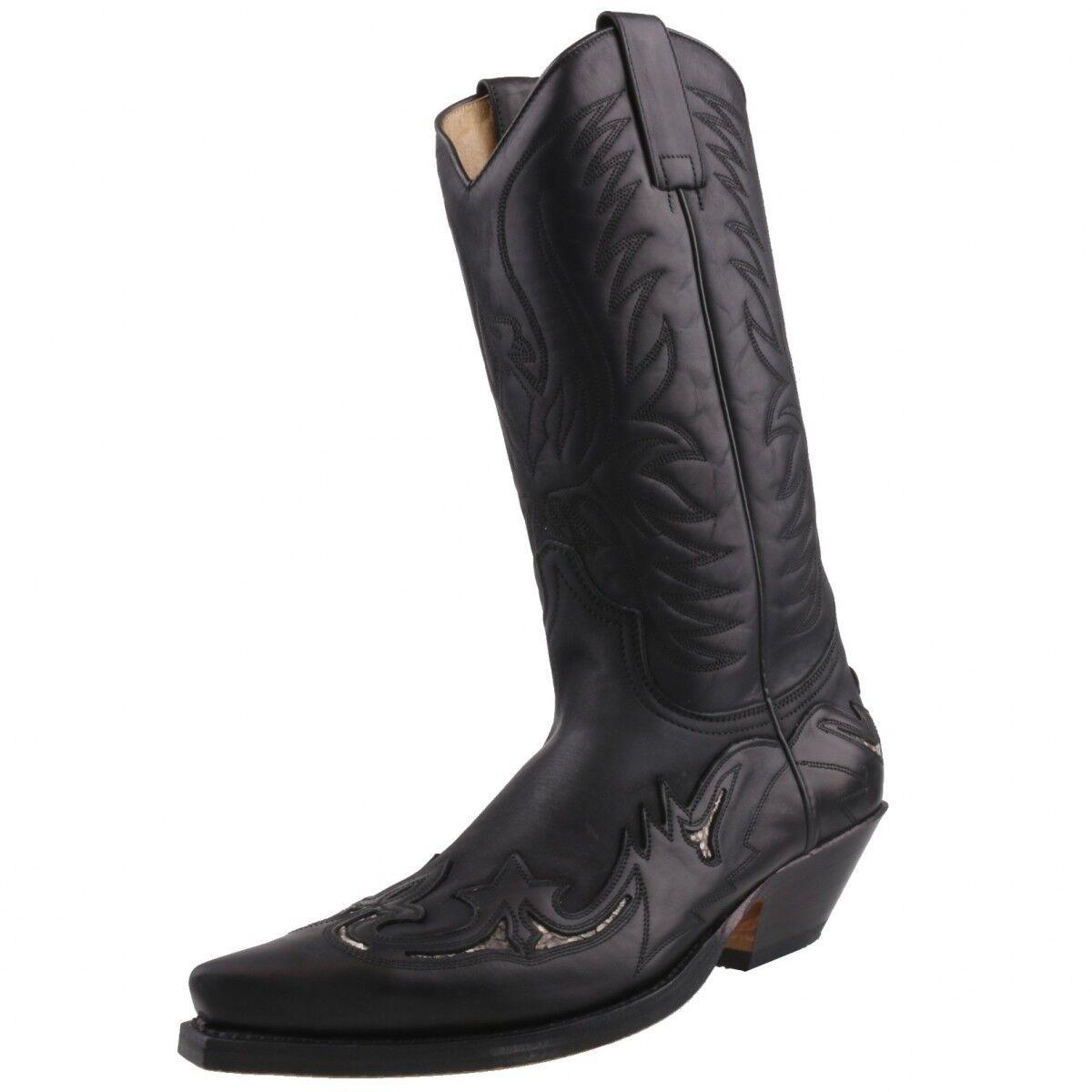 Sendra Sendra Sendra 3242 Unisex botas de vaquero occidental de Cuero Negro Biker hecho a mano  marca en liquidación de venta