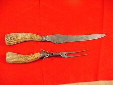 """Vintage Harrison Bros & Howson Stag Handle 14 1/2"""" Carving Knife & Meat Fork"""