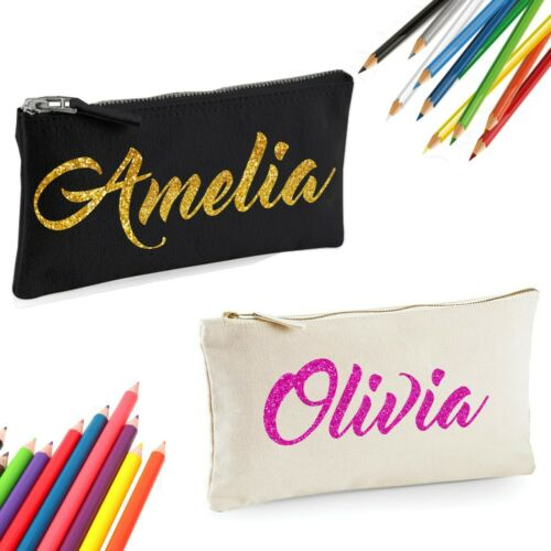 Personalised Pencil case made from 100/% cotton Canvas with Glitter Foil Print