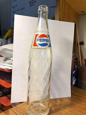 Vintage Pepsi Cola Glass Bottle One Pint Swirl 16 oz Soda Pop Collectible 1969