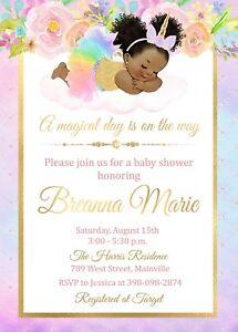 Unicorn Baby Shower Invitation Rainbow Sparkle Baby Girl Girl