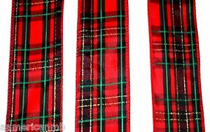 8-Yard-24ft-Wired-Edge-Plaid-Christmas-2-034-Ribbon-In-out-Door-Red-Green-Gold-Gift