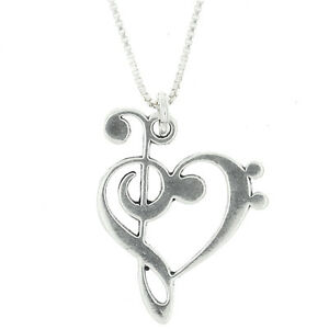 Sterling silver love music treble bass clef pendant necklace ebay image is loading sterling silver love music treble bass clef pendant aloadofball Choice Image