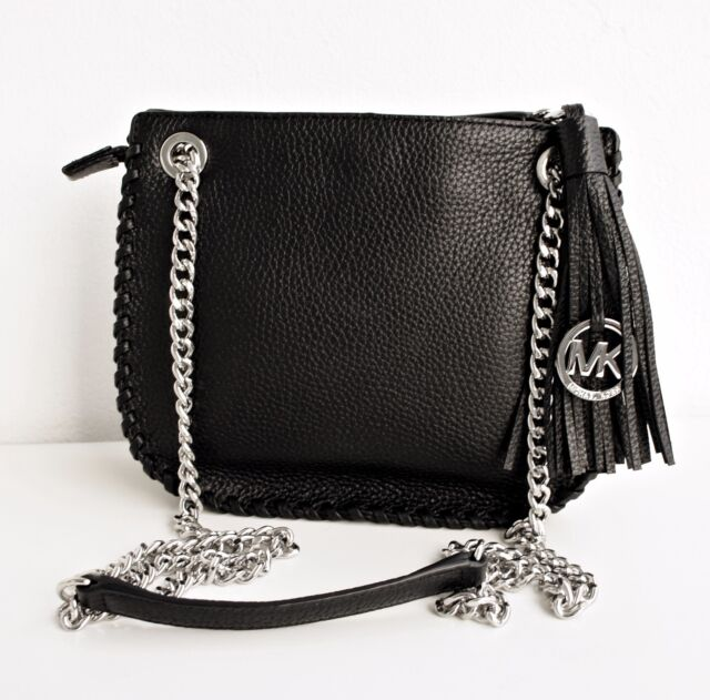 712abd372b72 Michael Kors Whipped Chelsea Black Leather Silver Chain Small ...