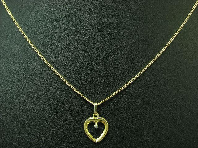 8kt 333 yellowgold Halskette & Herz Anhänger mit Diamant Besatz   40,0 cm