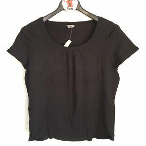 NEW-Ann-Taylor-Black-Silk-Short-Sleeve-Sweater-Top-Size-XL-Nylon-Scoop-Neck-NWT