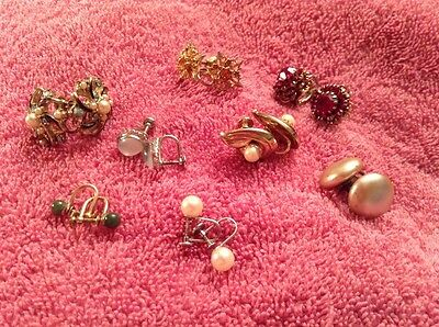 Vintage Costume Screwback Earring Lot Of 7 Rhinestones Pearls Jade Rudy Amber