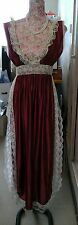 VINTAGE LADIES PLUM OPEN SIDE NIGHT DRESS WITH SISSY LACE TRIM 70s SIZE 10/12