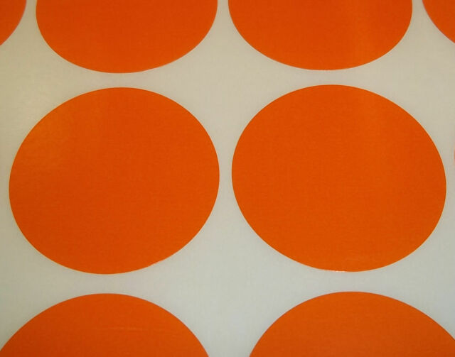 500 Orange 45mm 1 3/4 Inch Colour Code Dots Round Stickers Sticky ID Labels