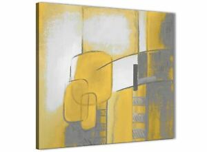 Image Is Loading Mustard Yellow Grey Painting Abstract Dining Room Canvas