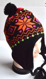 NEW Womens mens Unisex Orange diamond patterned black nepal hat winter UK