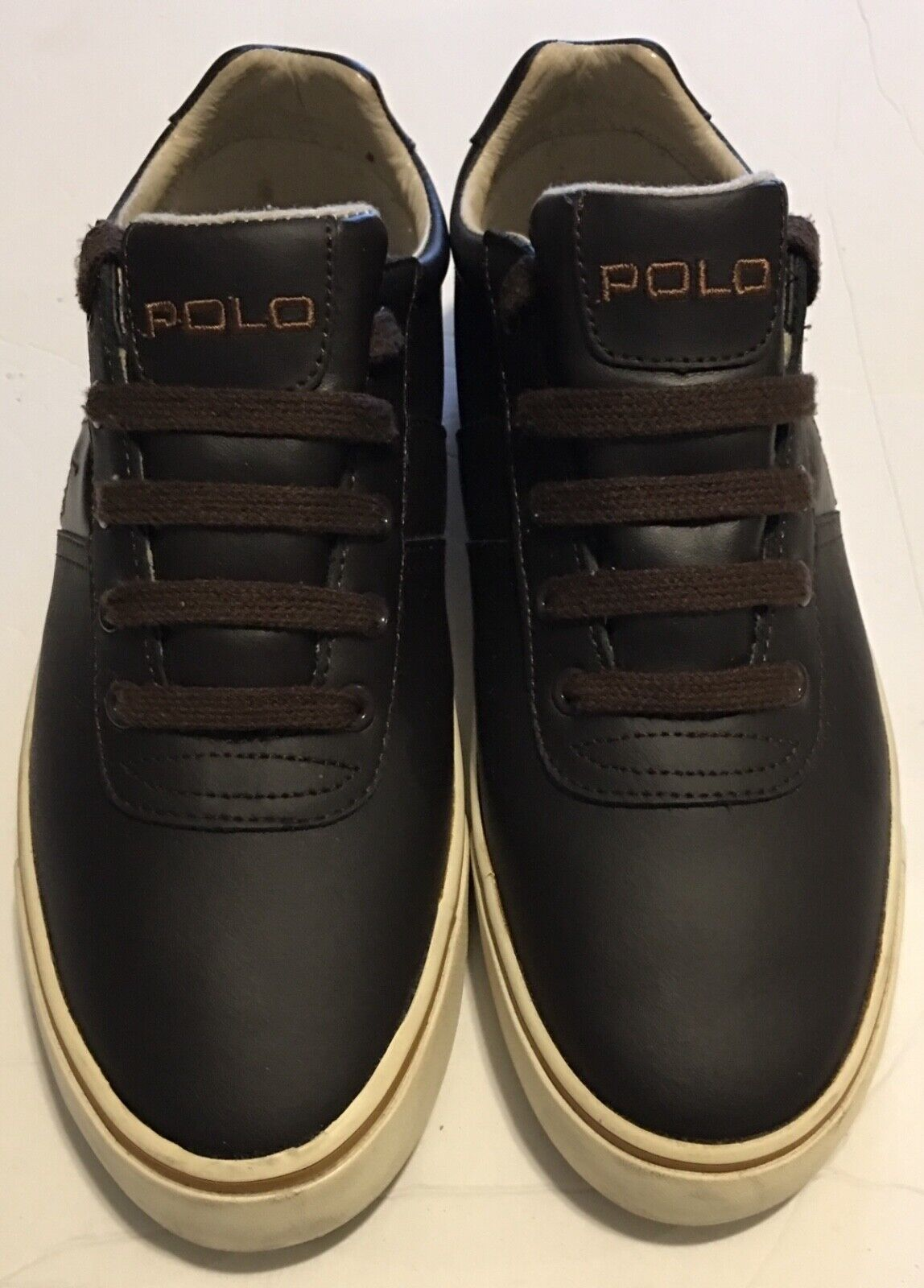 POLO RALPH LAUREN Mens Brown Leather Casual Sneaker Size 9D