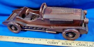 Vintage-Antique-Auto-Carved-Wood-Toy-Model-Car-Coupe-Convertible-15-034-Large