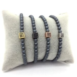 6x6cm-Men-039-s-Pave-CZ-Cube-Dice-Elastic-Rope-4mm-Lava-Stone-Beads-Strand-Bracelets