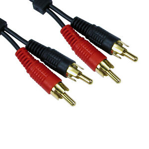 1-2m-SHORT-2-x-RCA-Twin-Phono-Cable-Speaker-Amp-Lead-Male-To-Male-Plug-GOLD
