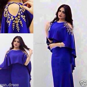 Royal Blue Plus Size Evening Dresses Appliques Saudi Arabic Women
