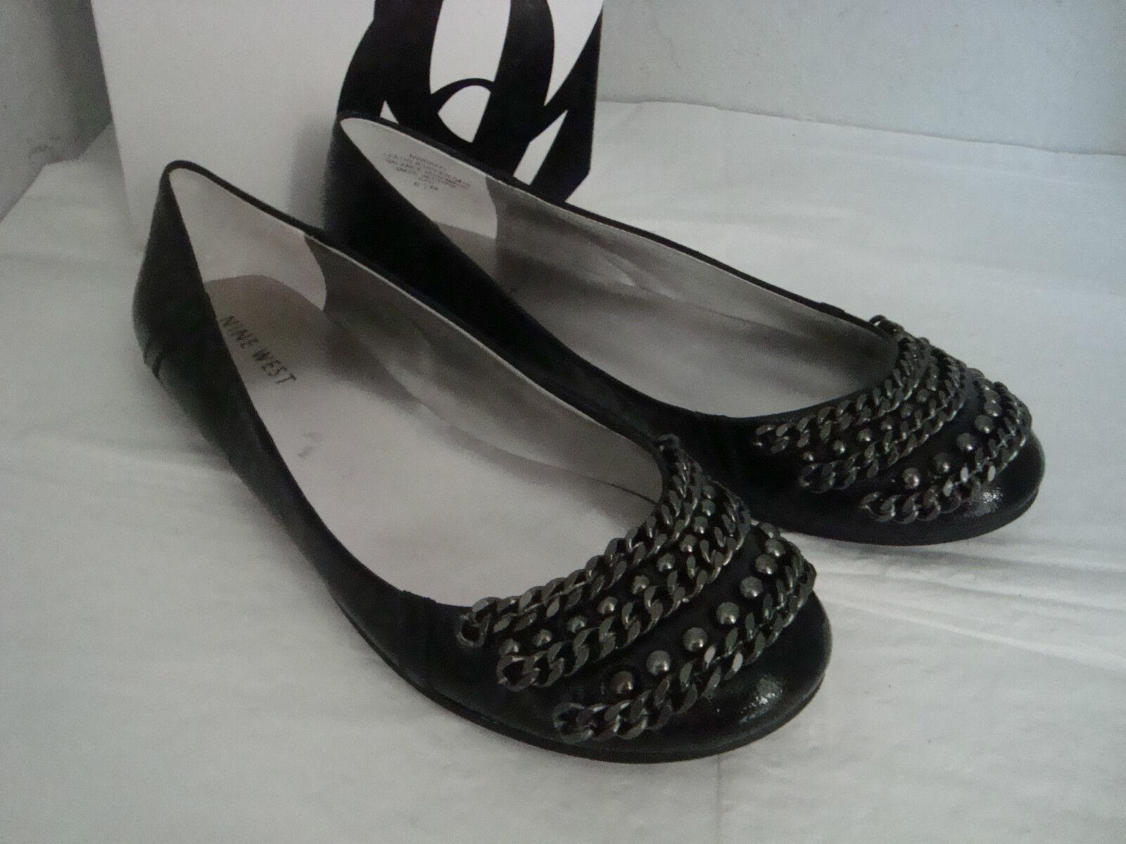 Nuevos Nine Nine Nine West nwraffi Negro Cuero Zapatos Planos 6.5 Medium  tienda de pescado para la venta