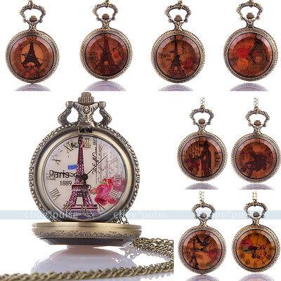Antique Roman Numeral Bronze Tone Pocket Chain Quartz Pendant Watch Necklace New