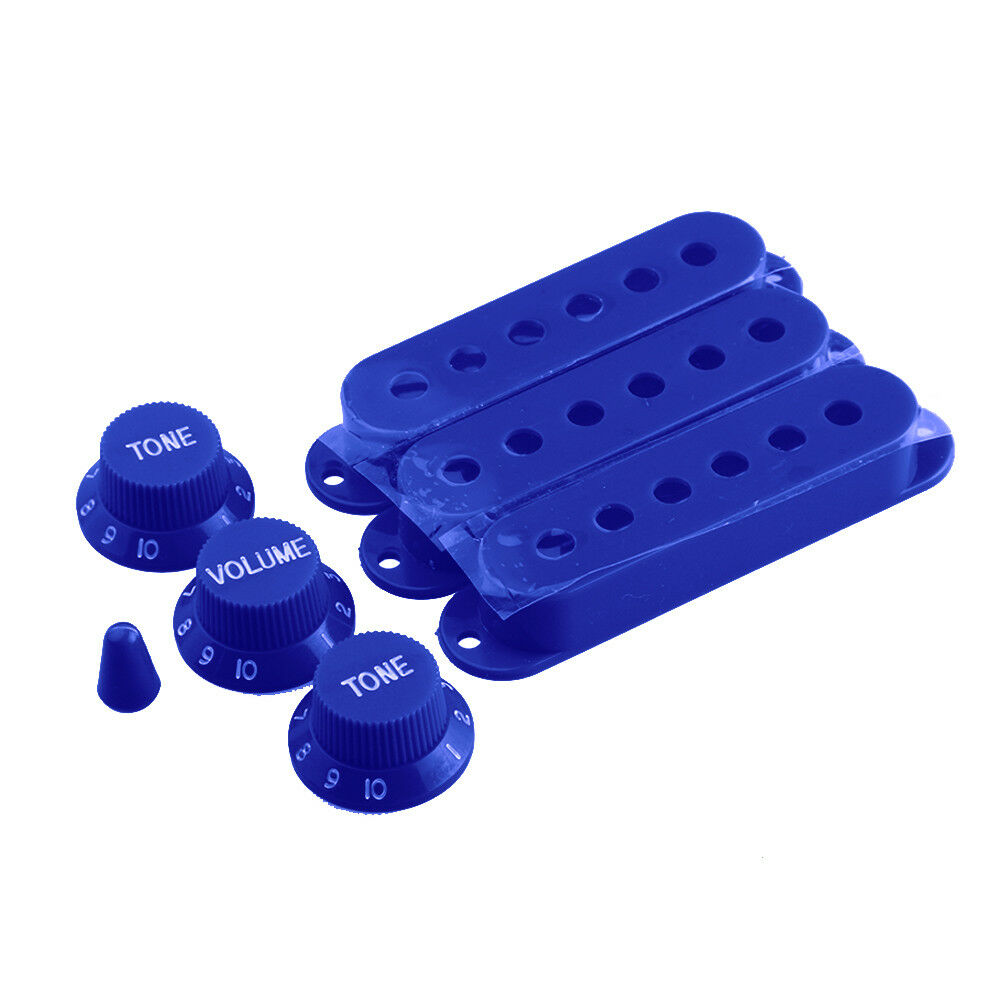 Single Coil Pickup Cover Knobs Set 1v2t Switch Tip For Strat Guitar Wiring Harness 5 Way 500k Pots Fender Parts Blue