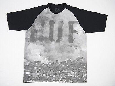 Huf CLASSIC LOGO Black Orange Screenprint Short Sleeve Regular Fit Men/'s T-Shirt
