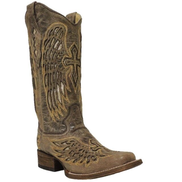 Corral Ladies Beige Glitter Wing and Cross Boot A2864