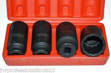 "4 Pc 1/2"" Drive Deep Spindle Axle Nut Socket Set - METRIC 30mm 32mm 34mm 36mm"