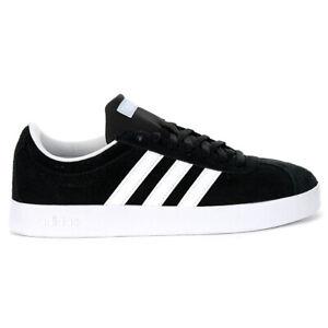 Adidas Women's VL Court 2.0 Core Black/Cloud White/Blue Sneakers DA9887 NEW