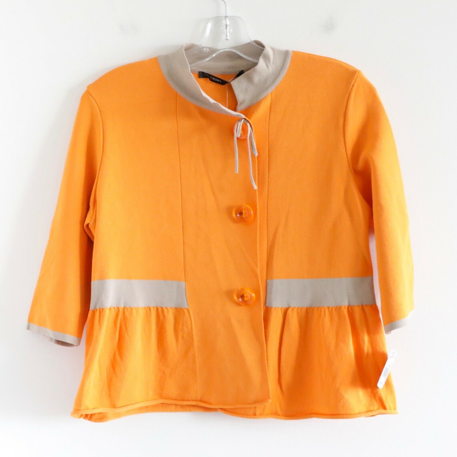 595  Tiki Tirawa NWT stickade bildigan tröja orange Top Storlek L stor Frankrike 3  4