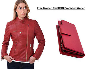 cheap for discount 02cd8 a26a3 Dettagli su Donna Pecora Nappa pelle Rossa Motociclisti Giacca con Gratis  Borsa in