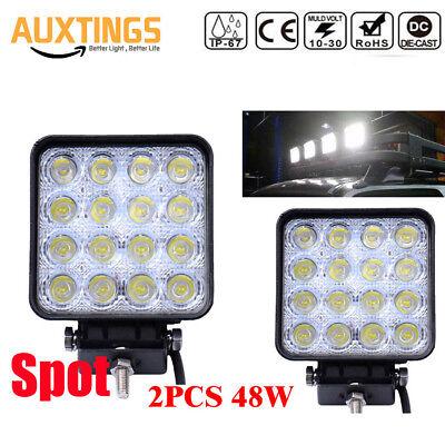2X 48W Square LED Work Light Spot Lamp For Offroad Truck Tractor Boat 12V 24V