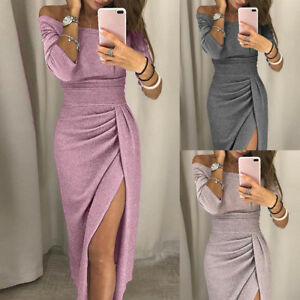 PARTY-WOMENS-LONG-SLEEVE-SHINY-OFF-SHOULDER-RUCHED-THIGH-SLIT-BODYCON-MAXI-DRESS
