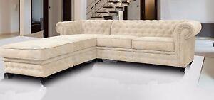 Chesterfield Corner Sofa Fabric 3 2 Seater Armchair Cream Fast