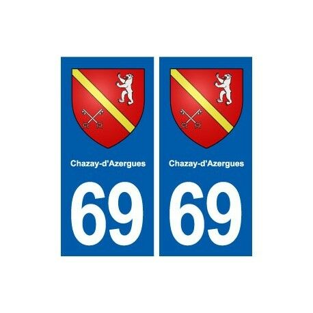 69 Chazay-d'Azergues blason autocollant plaque stickers ville droits