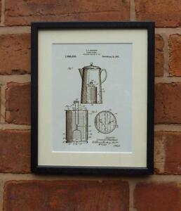 Patente De Dibujo Cocina Retro Vintage Cafetera Montado Impresion - Cocina-retro-vintage