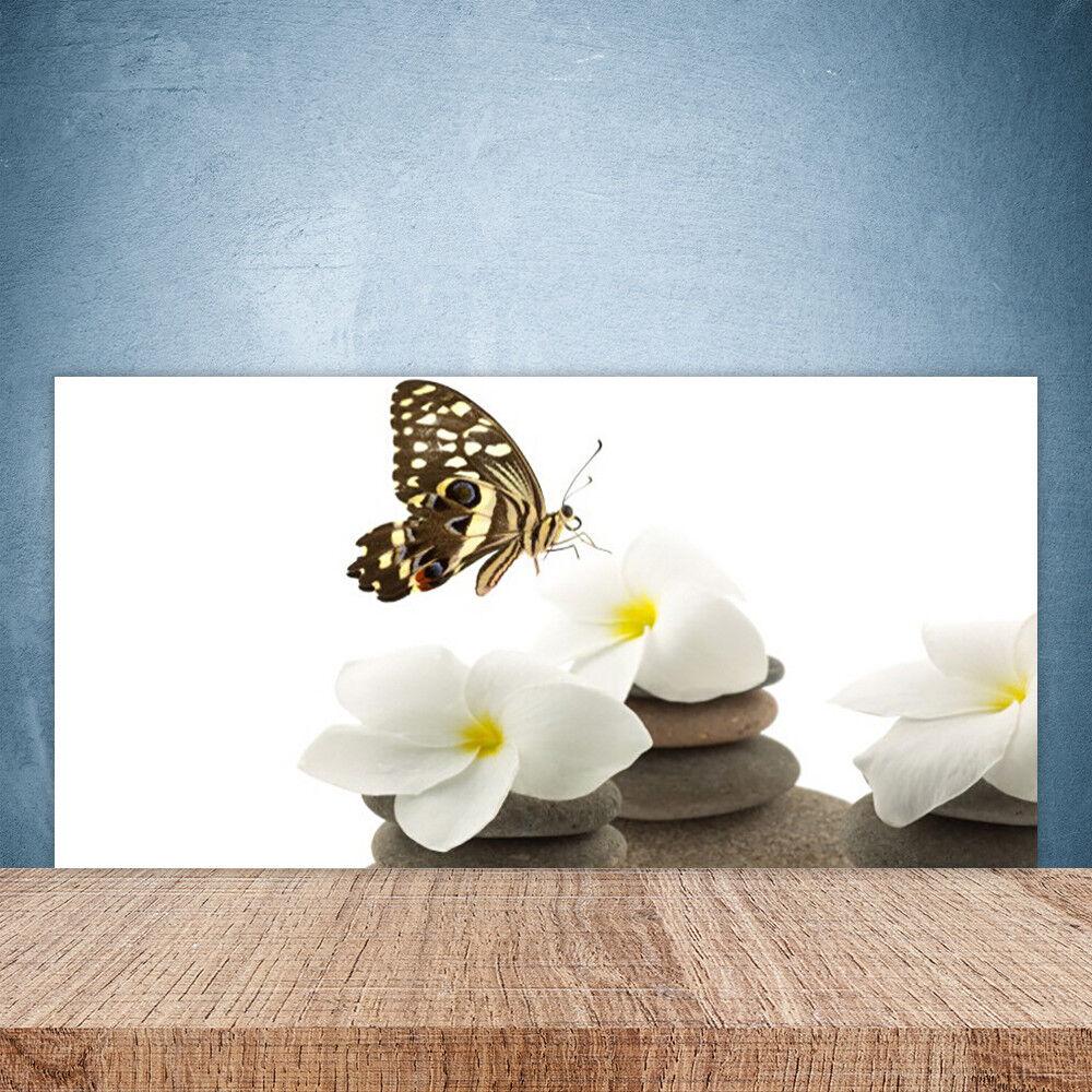 Crédence de cuisine en verre Panneau Paroi 100x50 Floral Papillon Fleurs Pierres