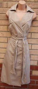Formal 12 Dress M A Sleeveless Buttoned Belted Beige Shirt Line T Trench Next azOqgxwz