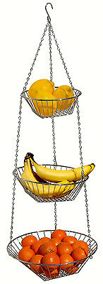 DecoBros 3 Tier Chrome Hanging Wire Metal Basket fo Fruit, Vegetable in Kitchen