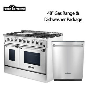 Image Is Loading Thor Kitchen 48 034 Gas Range 2 Ovens