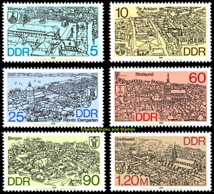 EBS-East-Germany-DDR-1988-City-Views-Northern-GDR-Michel-3161-3166-MNH
