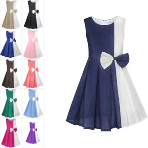 a64642d669e Image is loading Sunny-Fashion-Girls-Dress-Color-Block-Contrast-Bow-