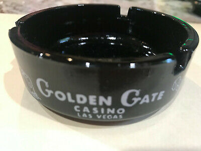 Vintage 1950/'s Las Vegas GOLDEN NUGGET Casino Advertising Black Glass Ashtray