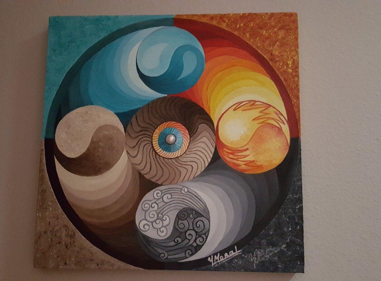 Cuadro mandala óleo sobre lienzo pintado a mano los cuatro elementos