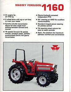 massey ferguson 1160 tractor sales brochure ebay rh ebay com Massey Ferguson 1130 Massey Ferguson 1180