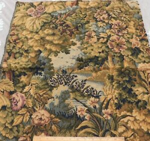 Antique-c1900-French-Scenic-Floral-Jacquard-Tapestry-Fabric-Sample-L-30-034-X-W-24-034