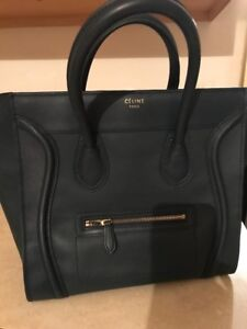 Image is loading Authentic-beautiful-Celine-bag-Calfskin-Navy-Leather-Mini- 1f4b2f0b86980