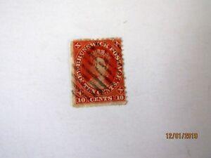 New-Brunswick-9-Queen-Victoria-U-G-10-cent-Space-Filler-thin-spot-1860